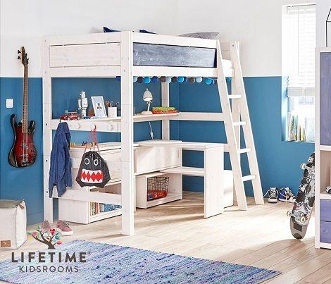 lifetime kidsroom hoogslaper bed bureau tafel kast schuine trap