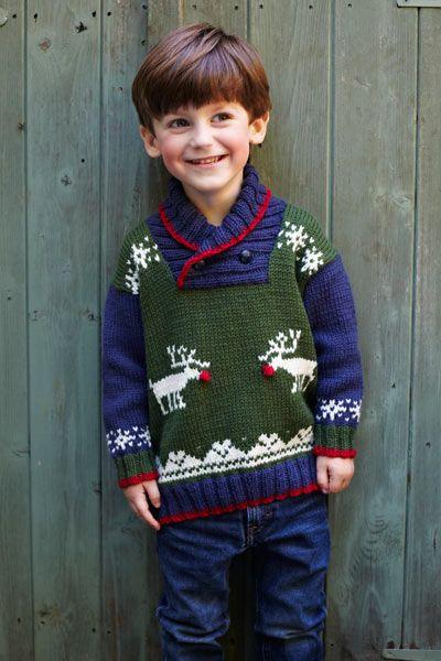 Kersttrui Kids.Knitting Pattern Reindeer Jumper Breien Kersttrui Jumper