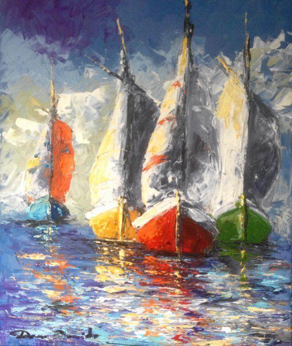 Dam Domido Pinturas Peinture Aquarelle Peinture Bateau Et