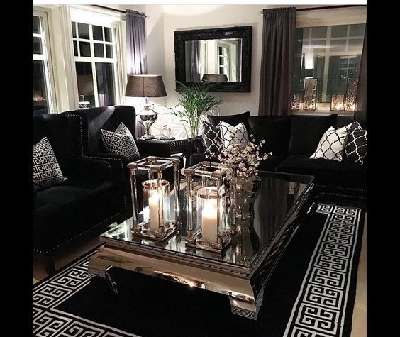 Pinterest Claudiagabg Black White Living Room Glam Living Room Silver Living Room