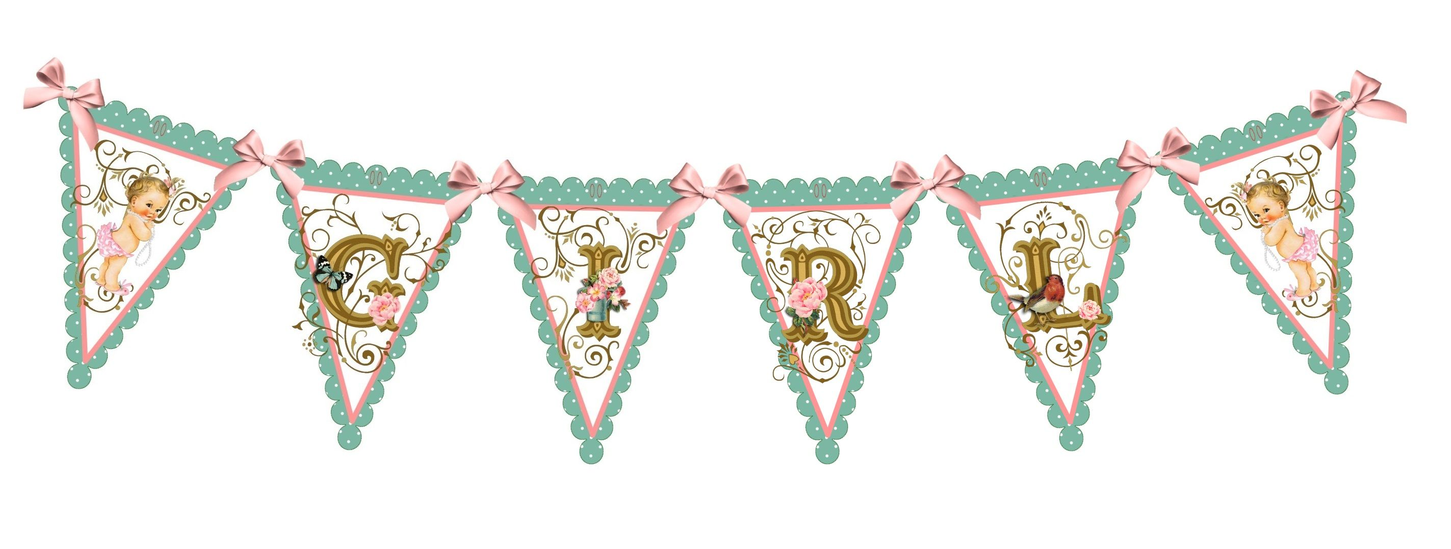 Baby Shower: It's A Girl Baby Banner/Bunting.