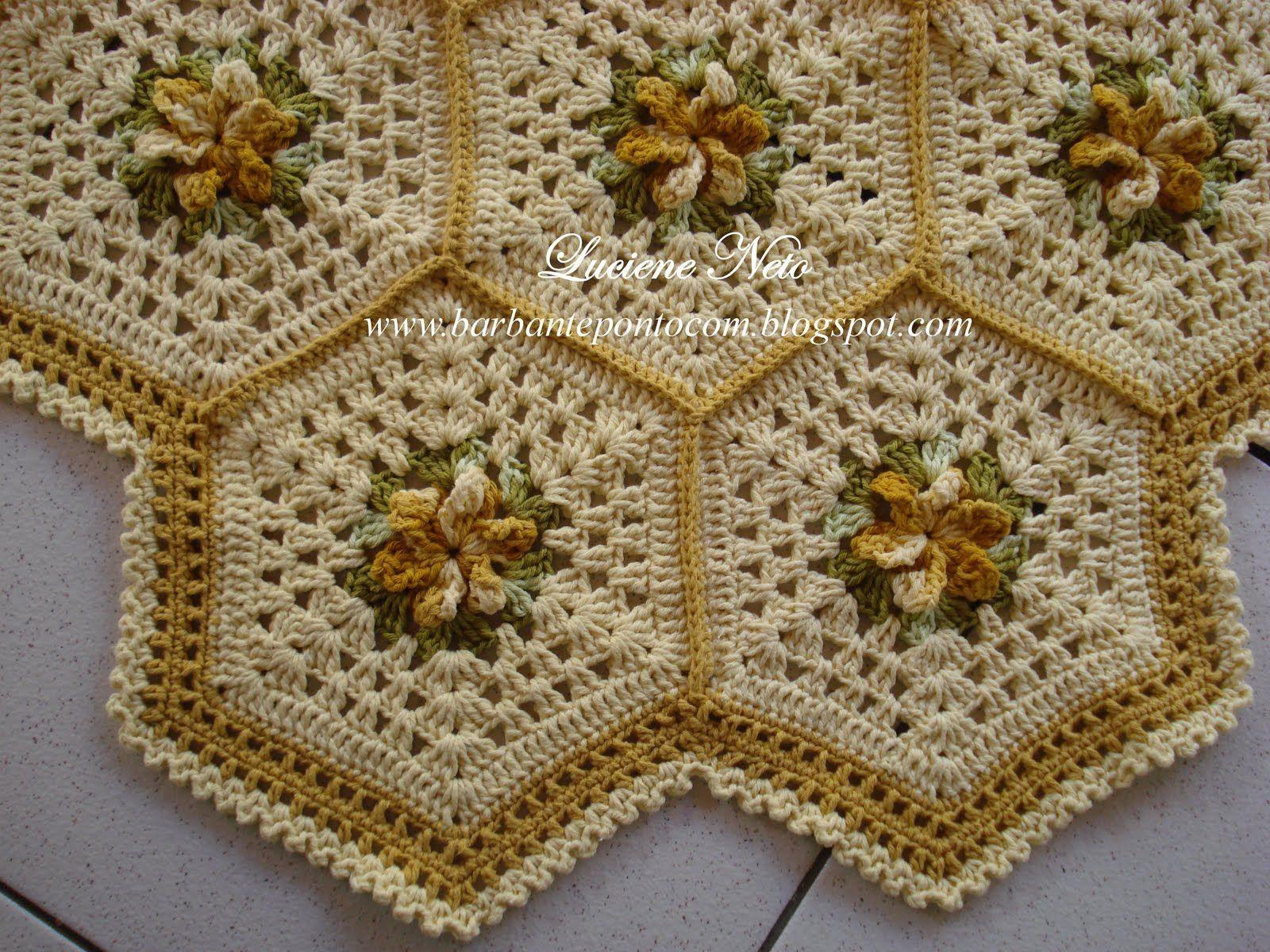 Tapete sextavado com flores amarelo barroco amarelo eco for Tapetes de crochet