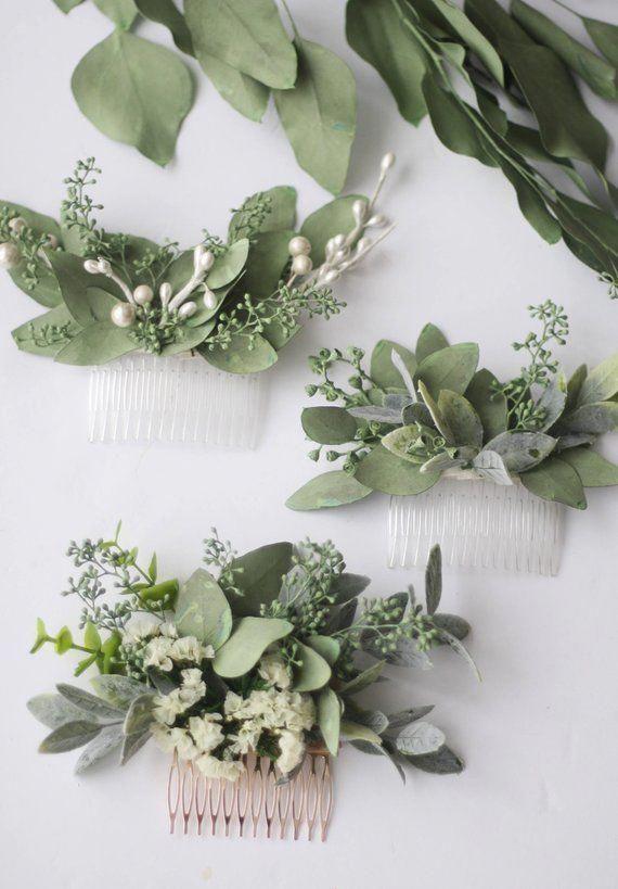 Eucalyptus hair comb greenery succulent Bridal hair vine boho ivory flower comb bridal hair piece w