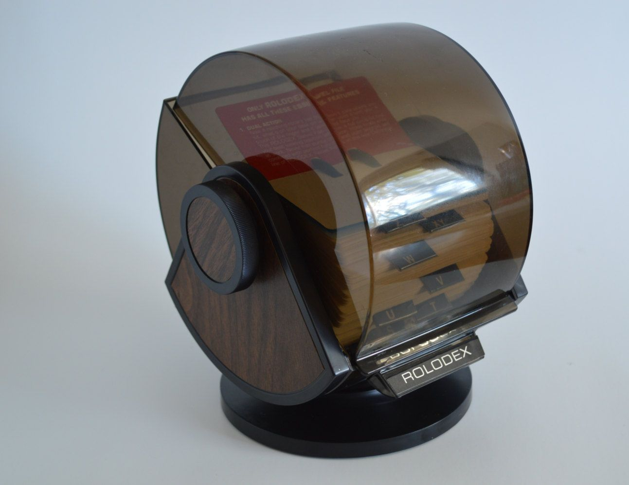 Vintage Rolodex Covered Card File Rotary Swivel Phone Address Business Card Holder Faux Wood With Smokey Cover Rolodex Card Files Business Card Holders
