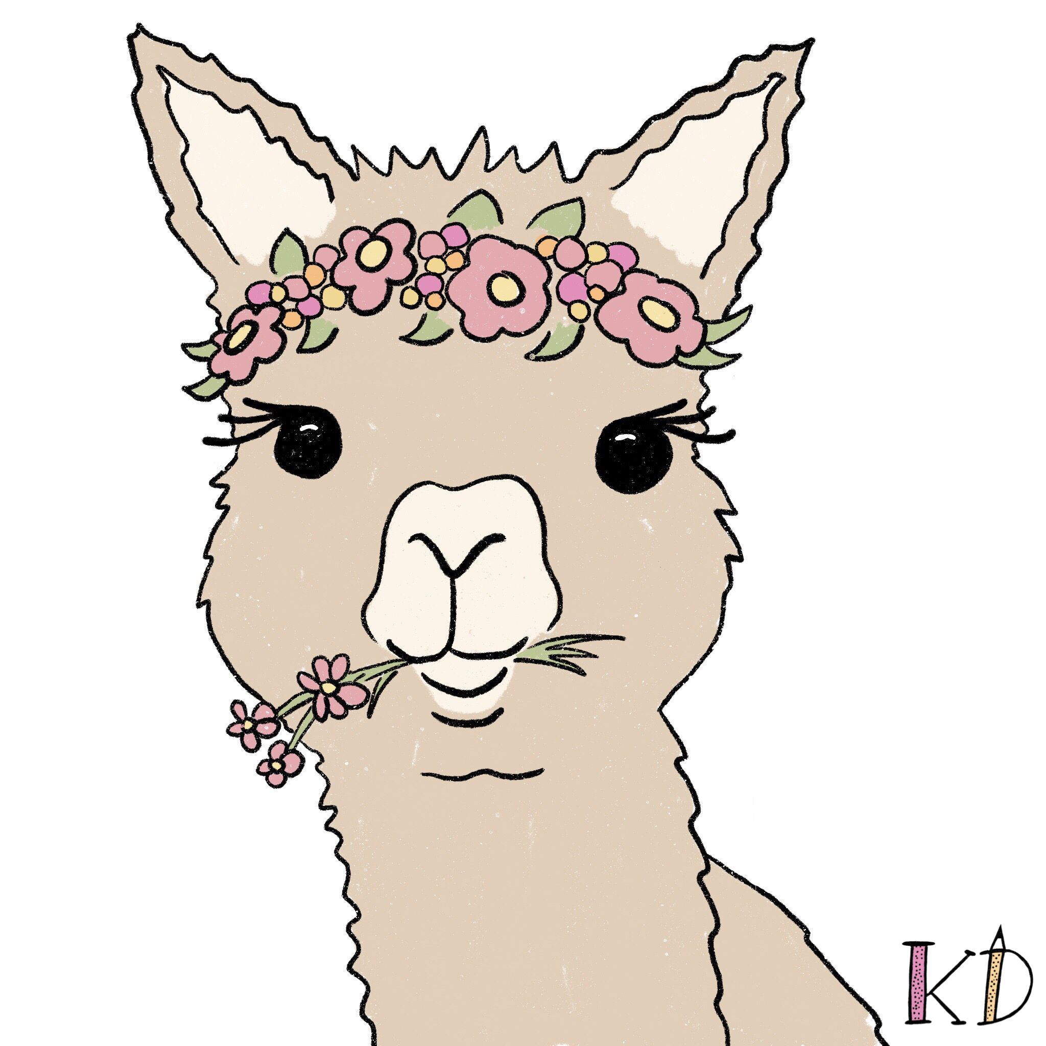 Alpaca With Flowers In 2021 Animal Illustration Drawings Face Illustration