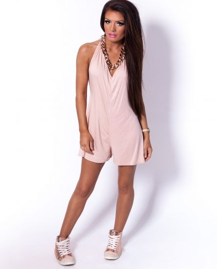 Ashes Nude Jersey Backless Halter Neck Playsuit