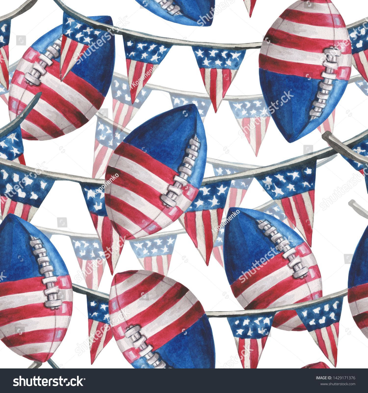 Watercolor Seamless Pattern Of Stretch Marks With Flags And Balls For American Football In The Colors O In 2020 Seamless Patterns Stock Illustration Patriotic Holidays