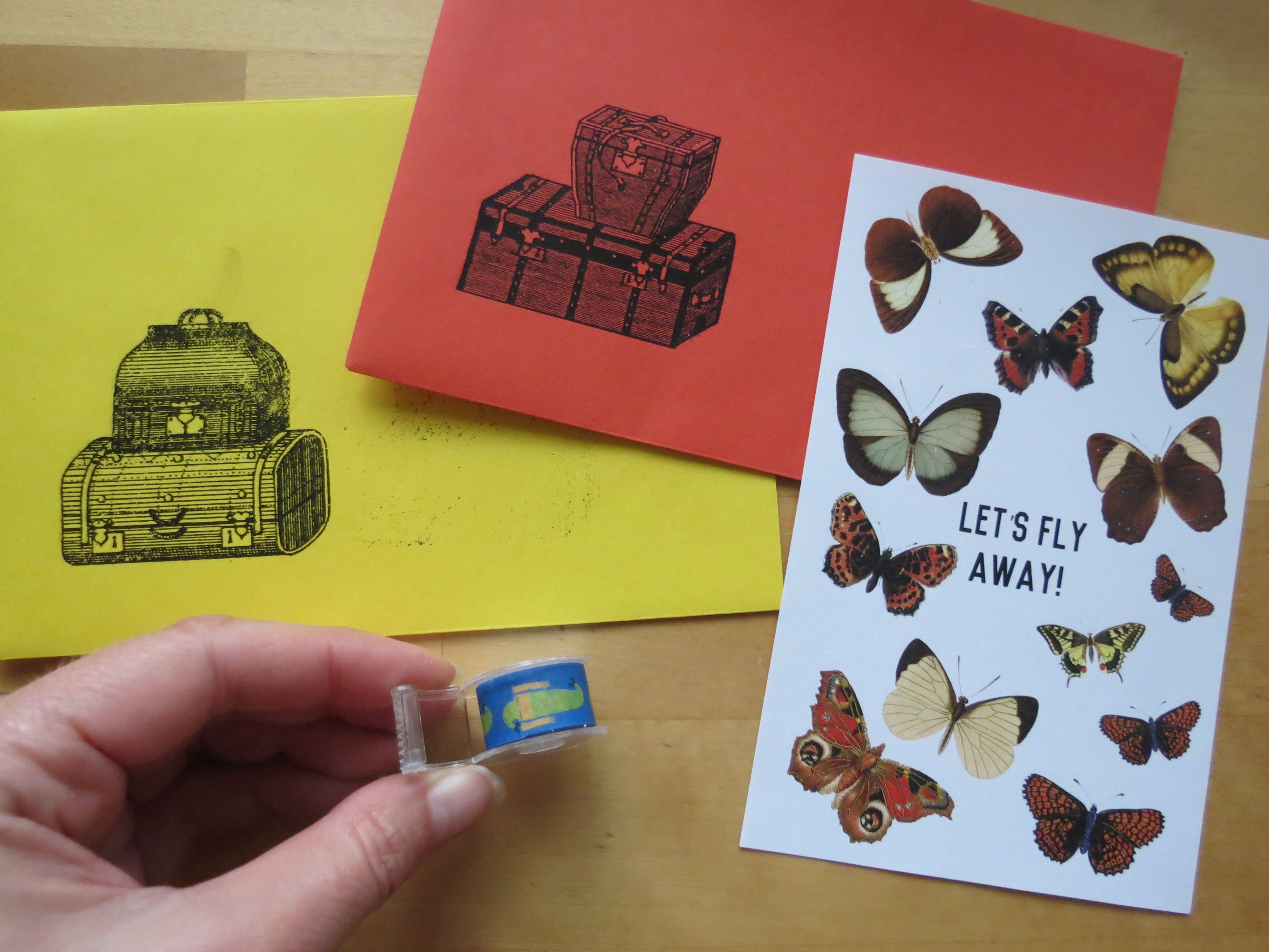 stickers, envelopes and washi tape (online)