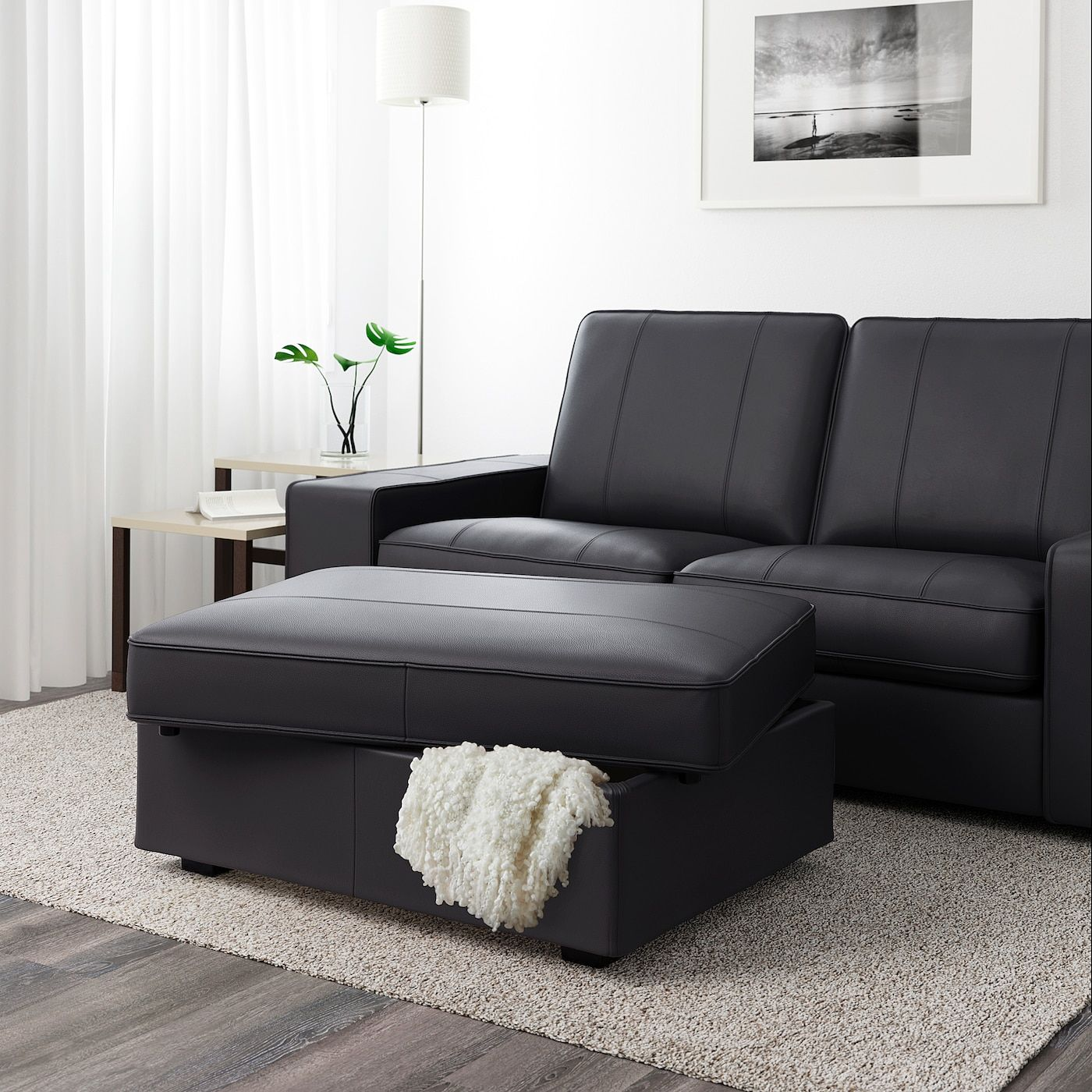 Ikea Kivik Grann Bomstad Black Ottoman In 2020 Ottoman In