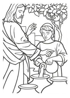 miracles of jesus is turn water into wine coloring page | church ... - Turn A Photo A Coloring Page