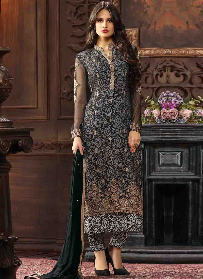 23a6cdd19e Black Embroidery Booti Work Georgette Printed Designer Pakistani Suit