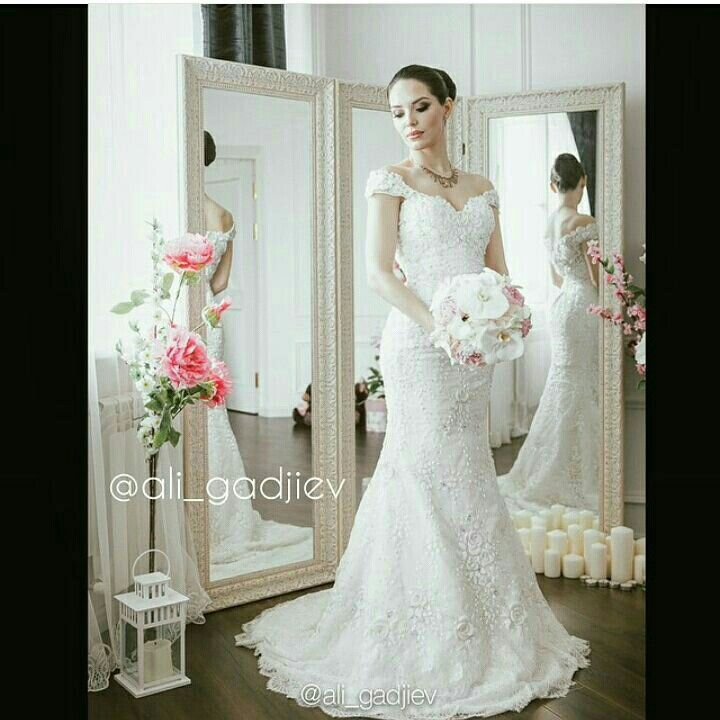 Michael Cinco trumpet bridal gown with sweetheart neckline and cap ...