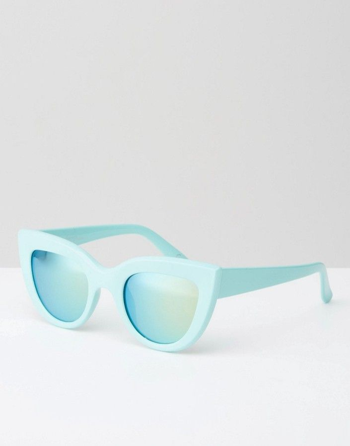 Jeepers Peepers Thick Frame Cat eye Sunglasses in Mint at asos.com