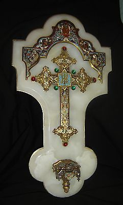 Antique French Crucifix Champleve Enamel Holy Water Font Stoup Large Museum 1850