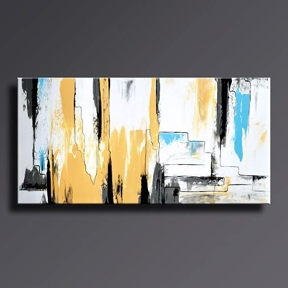 ABSTRACT FINE ART PAINTING BLACK WHITE YELLOW GRAY BLUE PAINTING ...