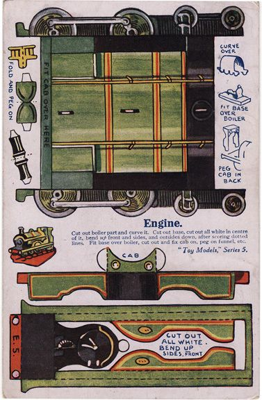 Post Card Paper Toy Cut Out Toy Models Railroad Engine | eBay