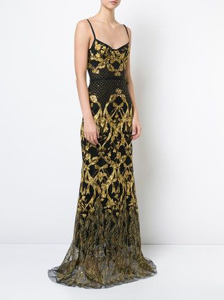 marchesa notte embroidered corset gown  farfetch