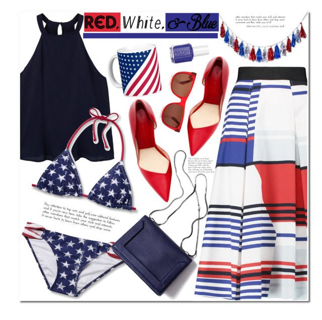"""""""No 409:Red,White and Blue"""" by lovepastel ❤ liked on Polyvore featuring Milly, MANGO, 3.1 Phillip Lim, Essie, redwhiteandblue and july4th"""