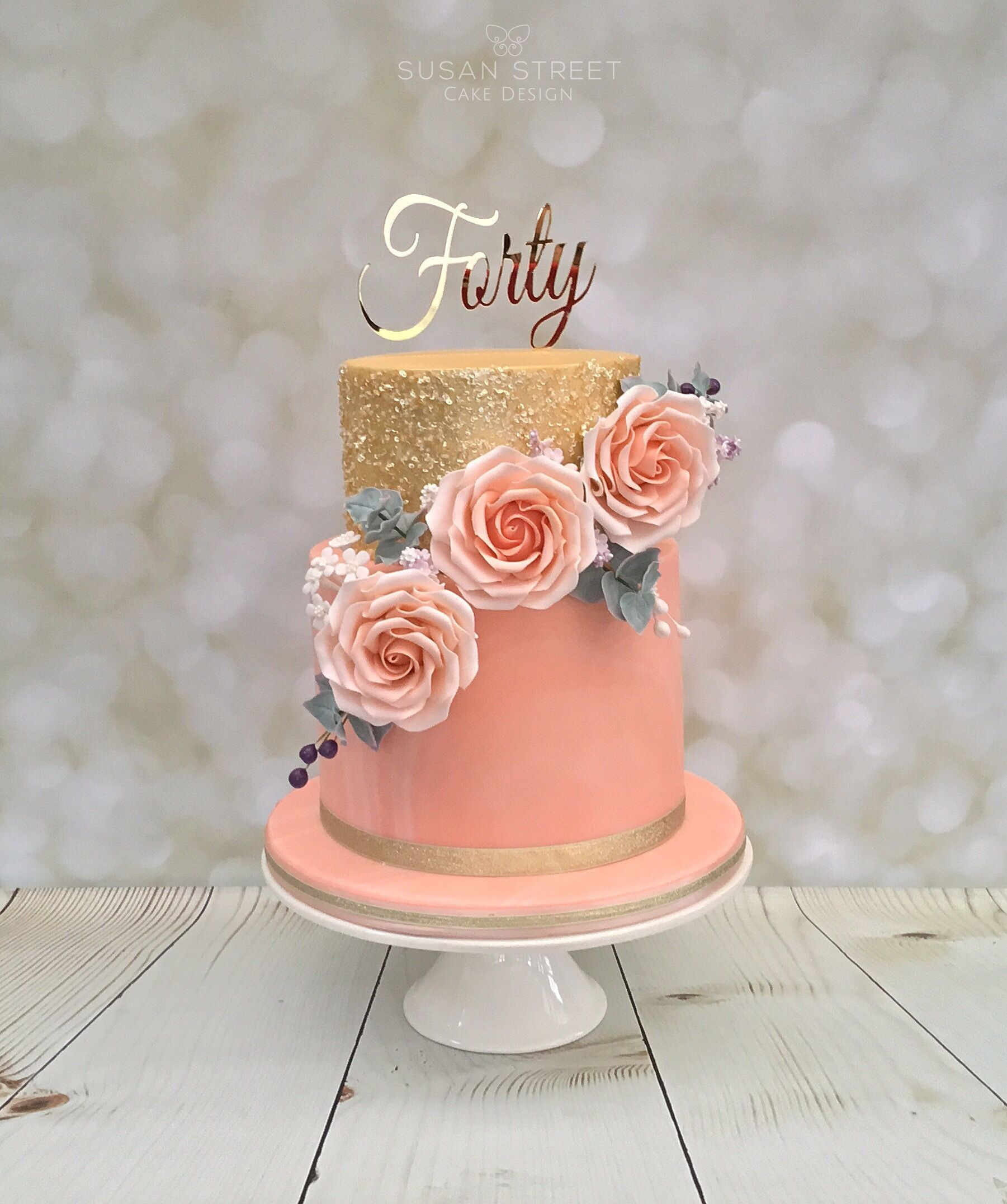 Gold And Peach Two Tier 40th Birthday Cake With Roses Edible Sequins