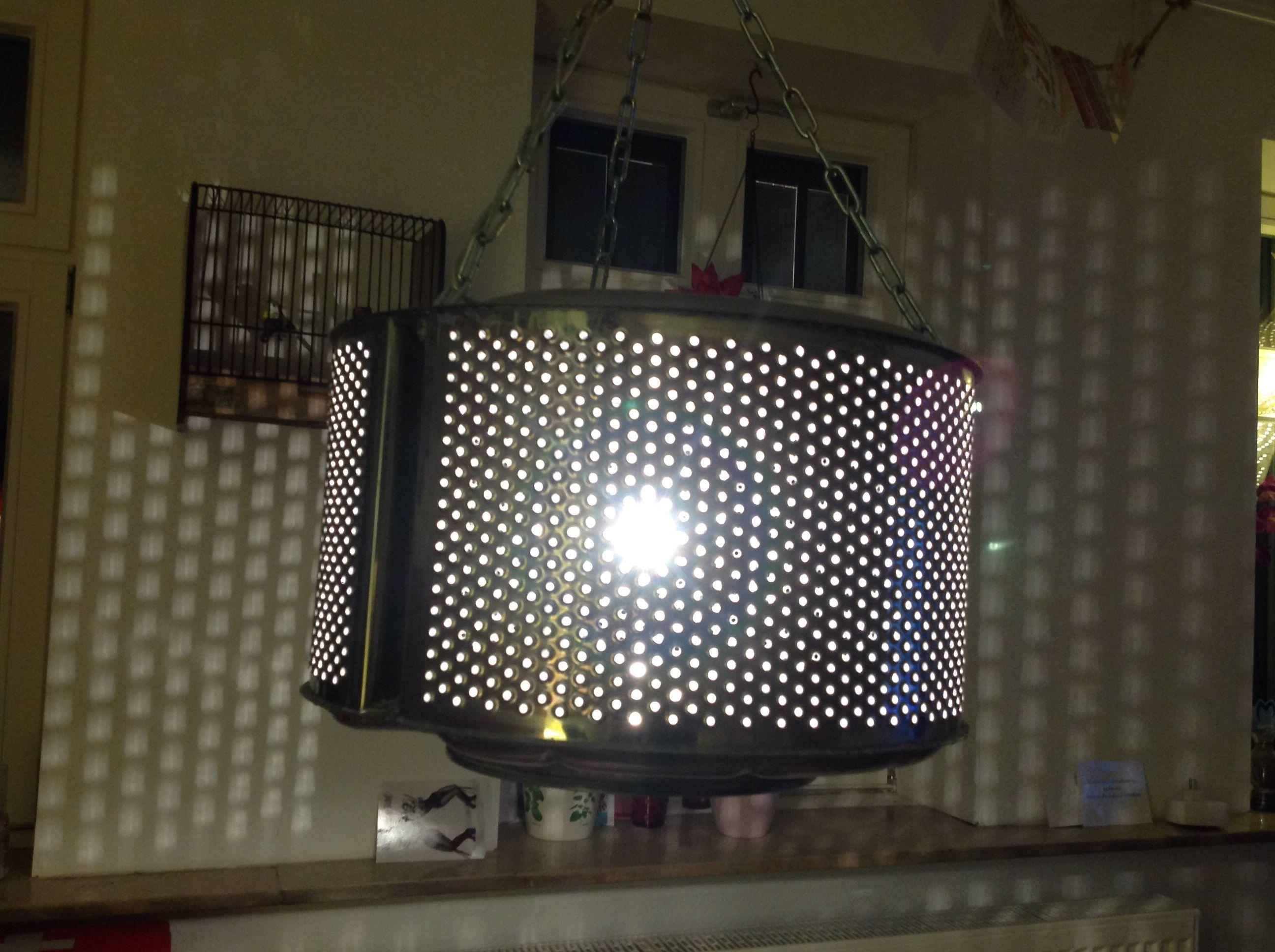 Lampe DIY Aus Einer Alten Waschtrommel In Meinem Wohnzimmer