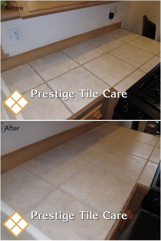 Cleaning Tile Countertop, Regrouting And Colorsealing The Grout.