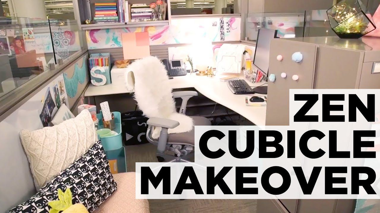 Before And After Zen Cubicle Makeover Hgtv Cubicle Makeover Cubicle Decor Office Cubicle Design