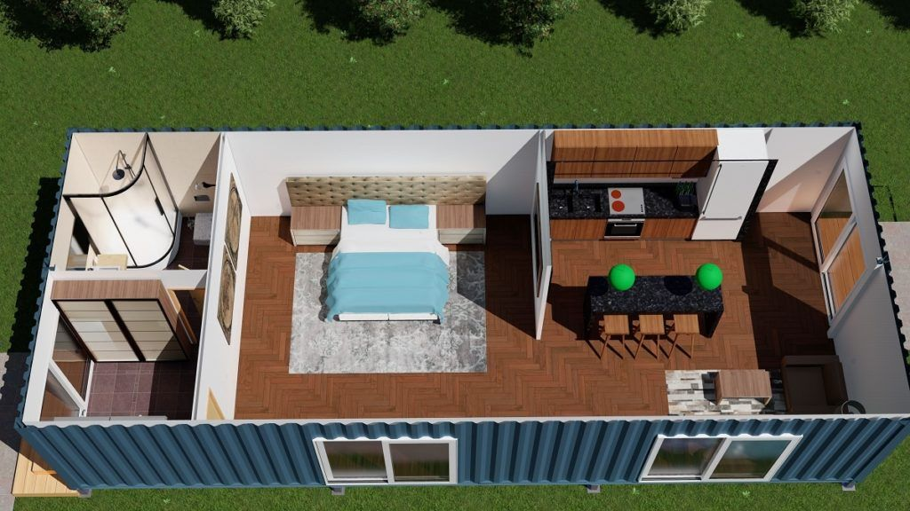 2 X 40ft Single Bedroom Container House Render 4 Sml Elegant Shipping Container Ho Shipping Container Home Designs Container House Design Container House Plans