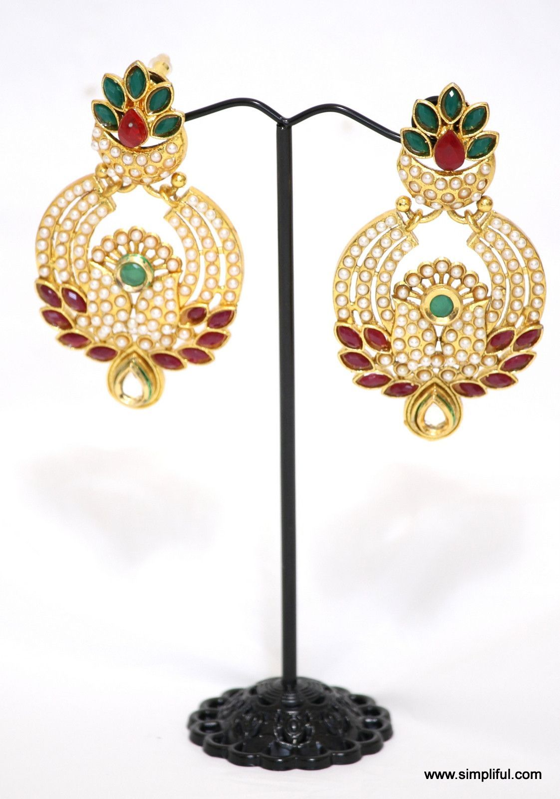 Pearl studded Peacock Earring Design Products Pinterest