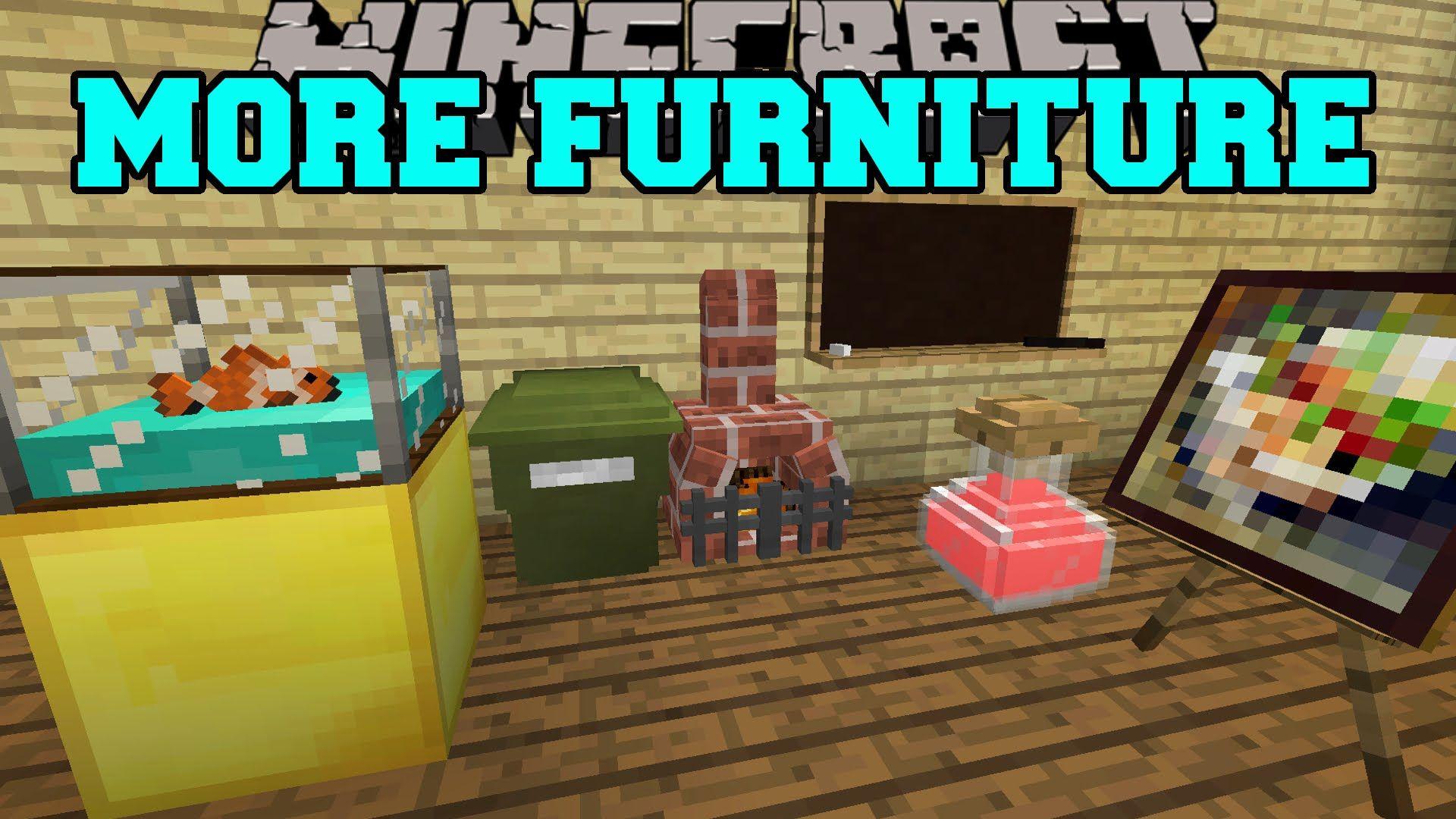 Minecraft More Furniture Aquarium Garbage Can Office Chair More Mod Showcase Minecraft Furniture Mincraft Mods Minecraft