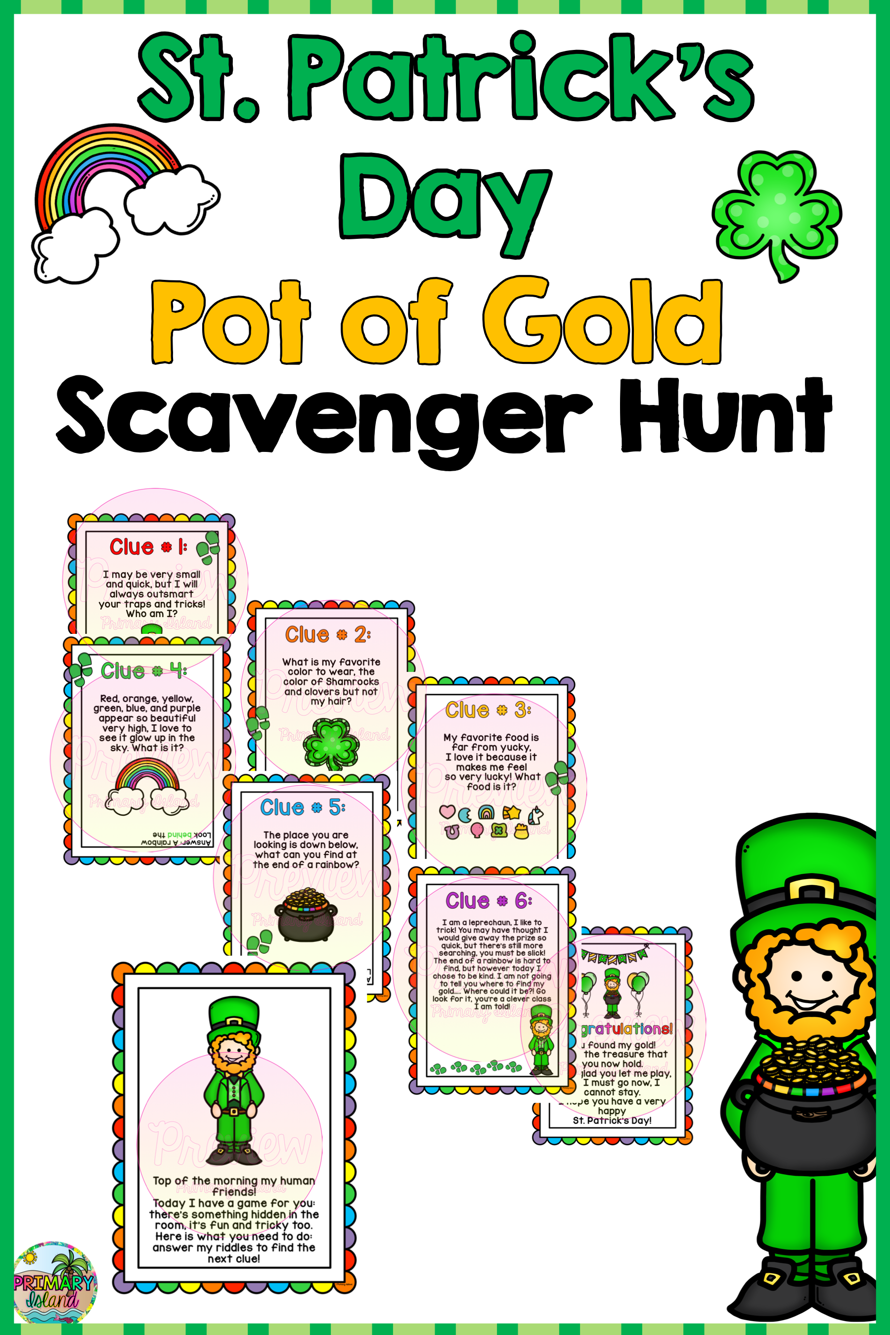 St Patrick S Day Leprechaun Pot Of Gold Scavenger Hunt