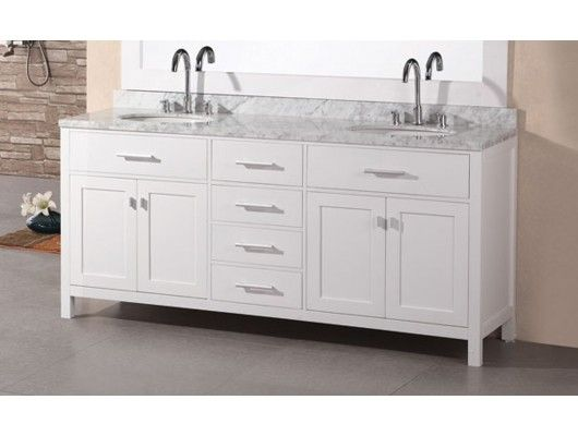 "72"" London Double Bathroom Vanity In Pearl White In Pearl White Pleasing Design Element Bathroom Vanity Decorating Design"