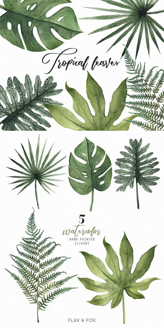Tropical Leaves Watercolor Elements Hand Painted Clipart Diy