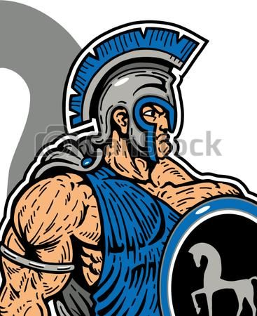 Vectors of muscular trojan with sword and shield ...