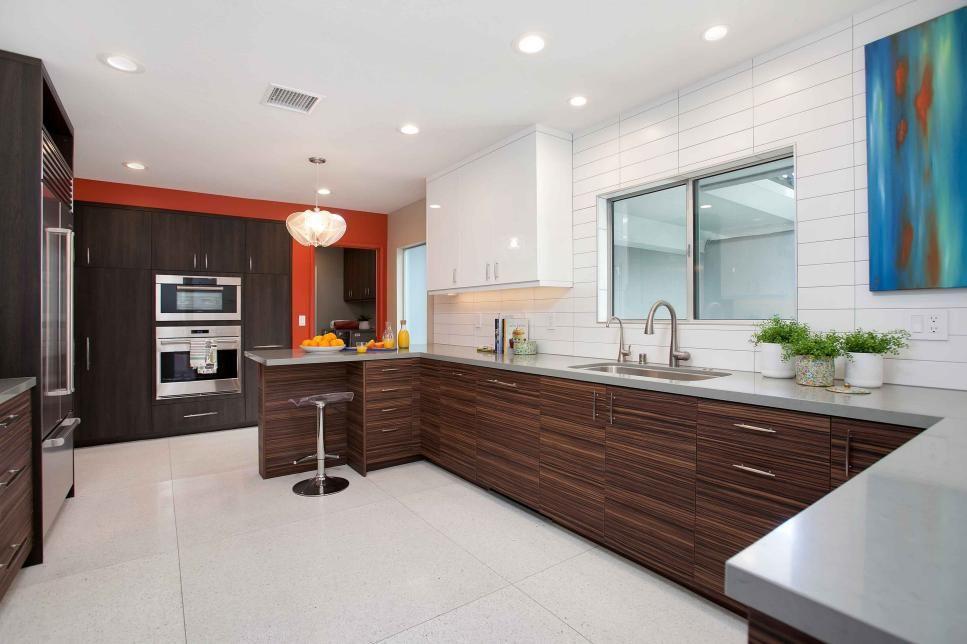 Spacious Midcentury Modern Kitchen With White Subway Tile