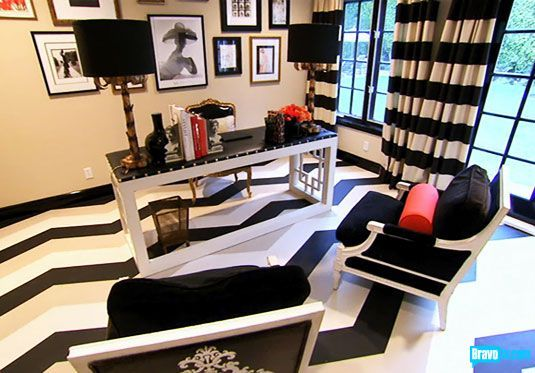 black and white office. striped floors with furniture the striped curtains would give me a headache but everything else looks good