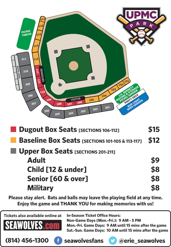 Upmc Park Seating Chart Erie Seawolves Upmc Park Erie Sports