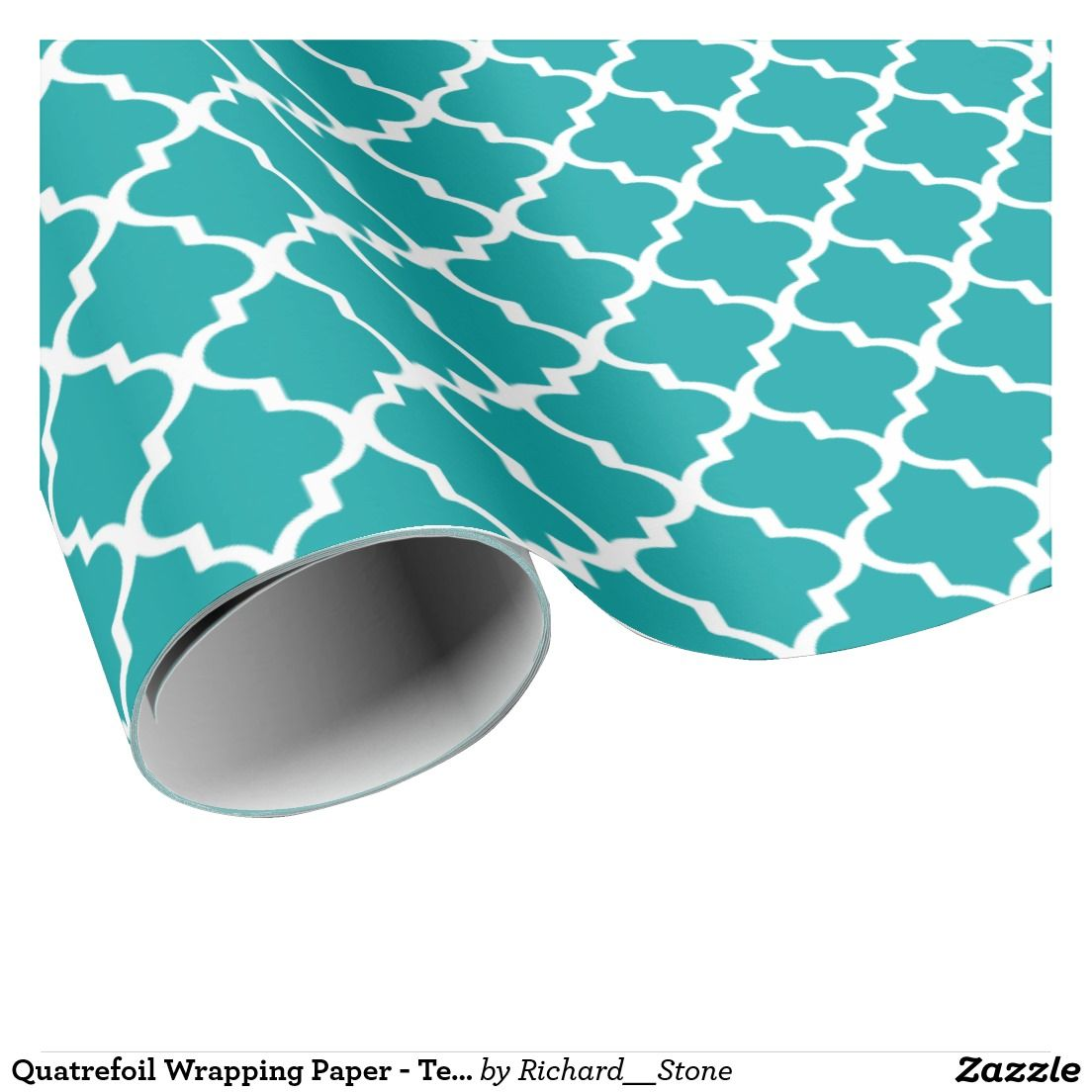 Quatrefoil Wrapping Paper - Teal