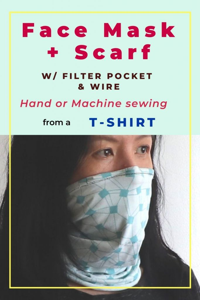 Photo of Gaiter style mask (Neck tube or scarf) with filter pocket made from a T-shirt