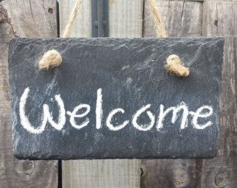 welcome sign rustic slate decor welcome guests greeting sign