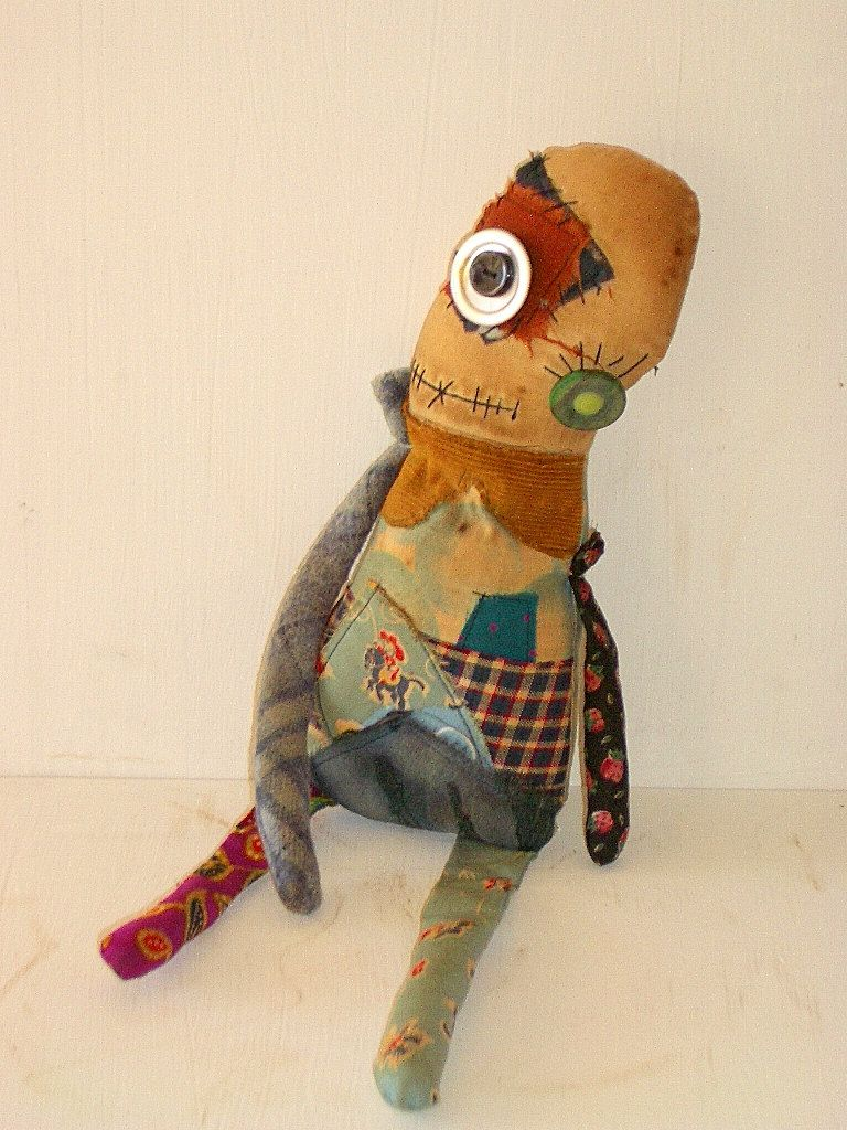 Grungy Monster Doll Moe- Cloth Doll - Zombie- Creepy- Ugly Cute ...