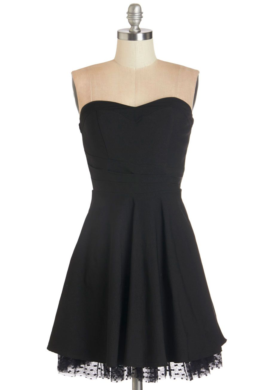 Unquestionably Cute Dress. Its undeniable that this simple black strapless dress has you looking and feeling oh-so adorable! #black #prom #modcloth