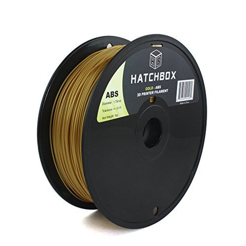 HATCHBOX 1.75mm Gold ABS 3D Printer Filament - 1kg Spool