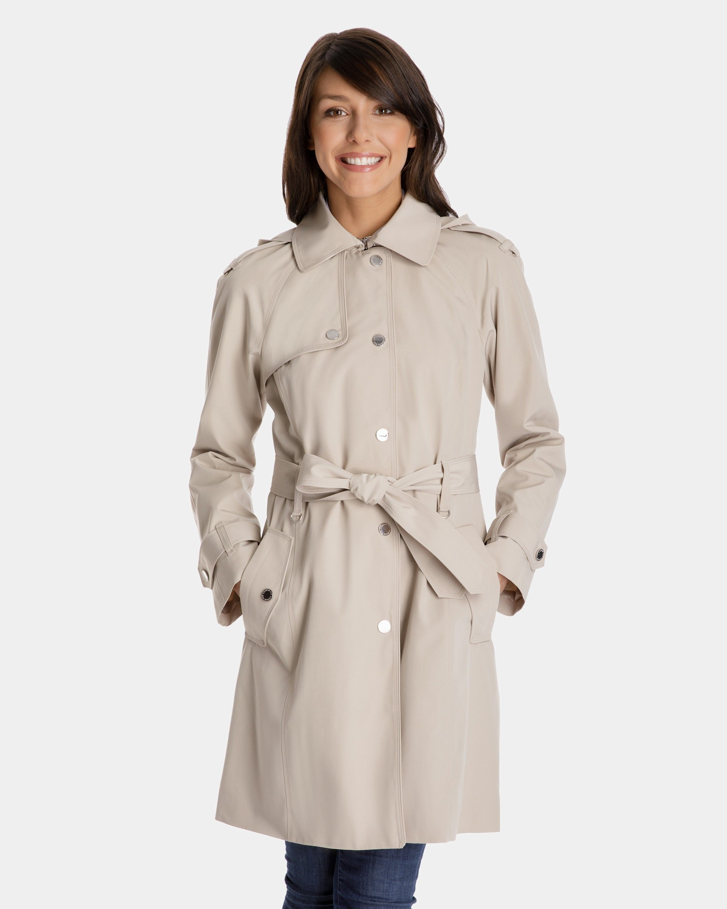 4377a3afcef Megan Single-Breasted Trench Coat with Gun Flap and Removable Hood - Trench  Coats for Women - Coats for Women - Women