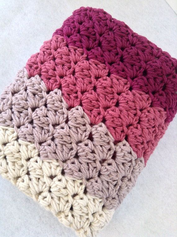 Chunky Crochet Baby Or Lap Blanket In Shades Of By Designbyaw