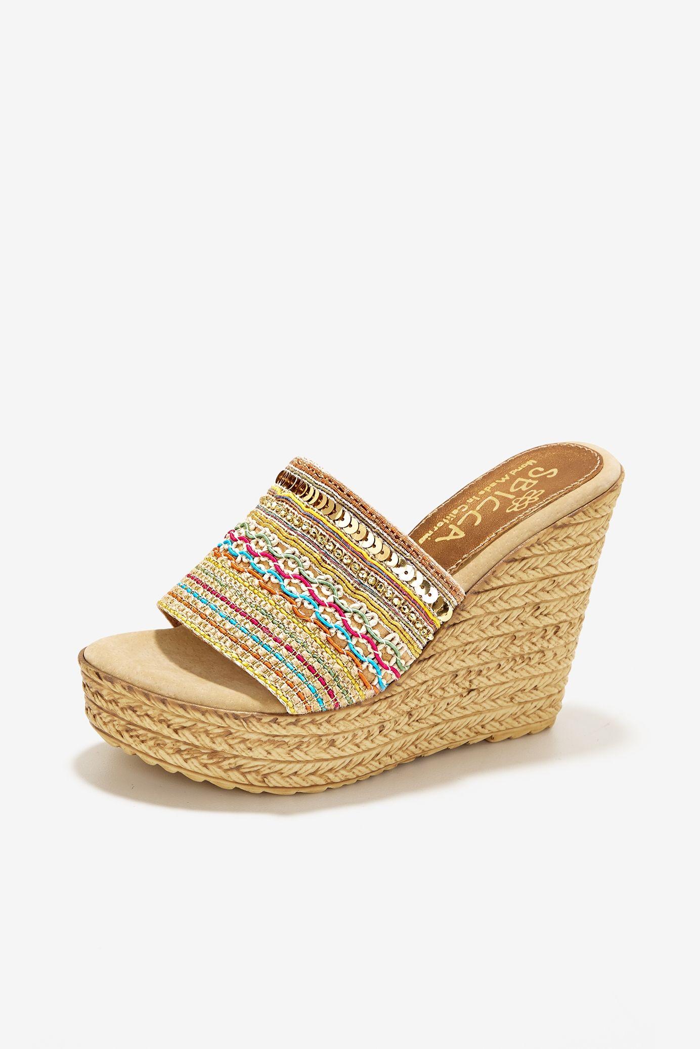 770b5b36a4dd Embellished Slide Wedge Heel