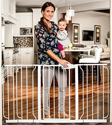Regalo Easy Step 38.5-Inch Extra Wide Baby Gate Bonus Kit 4 Pack Pressure Mount Kit and 4 Pack Wall Mount Kit Includes 6-Inch Extension Kit