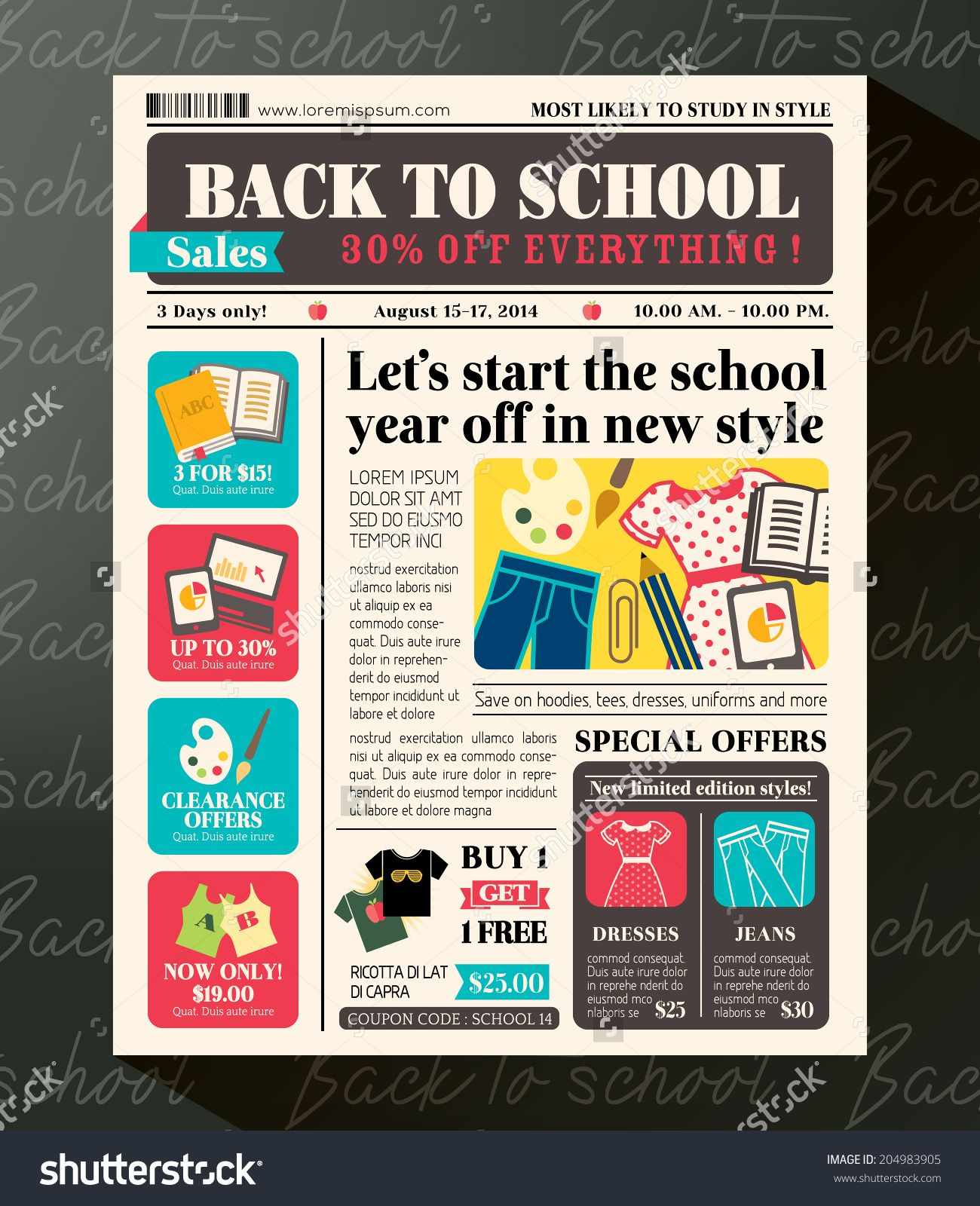 Back to school sales promotional design template in newspaper back to school sales promotional design template in newspaper journal style fandeluxe Image collections