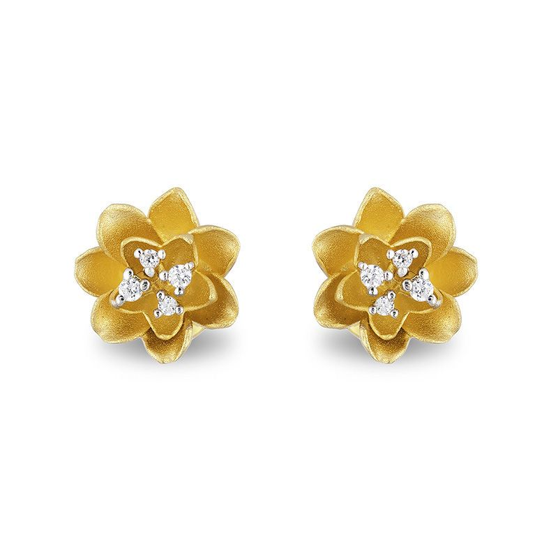 81748a7a6 Enchanted Disney Tiana Diamond Accent Water Lily Stud Earrings in 10K Gold