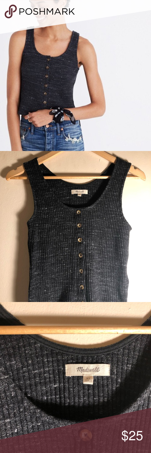 b8f69f06061cfd Madewell Ribbed Button Front Sweater Tank Top- XS Dark grey charcoal. Super  cute and so soft! Barely cropped fit. Never worn