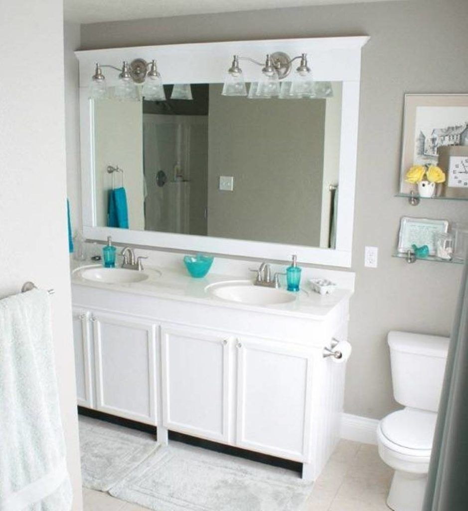 Bathroom Mirrors White Framed With Brushed Nickel Vanity Section Special Mirror Frames